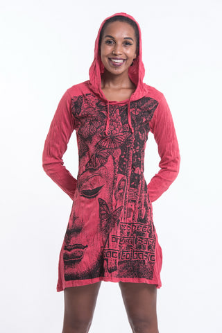 Sure Design Women's Butterfly Buddha Hoodie Dress Red