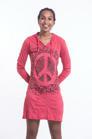 Sure Design Women's Peace Sign Hoodie Dress Red