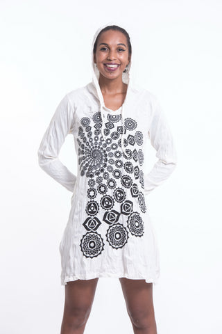 Sure Design Women's Chakra Fractal Hoodie Dress White