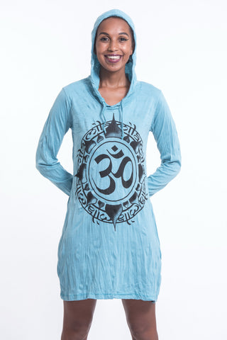 Sure Design Women's Infinitee Ohm Hoodie Dress Turquoise