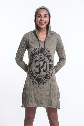 Sure Design Women's Infinitee Ohm Hoodie Dress Green