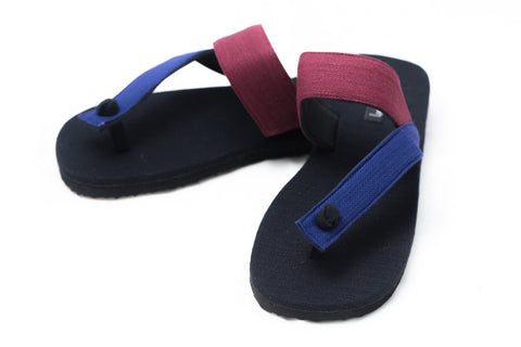 Blue and Red Gladiator Style Flip Flops