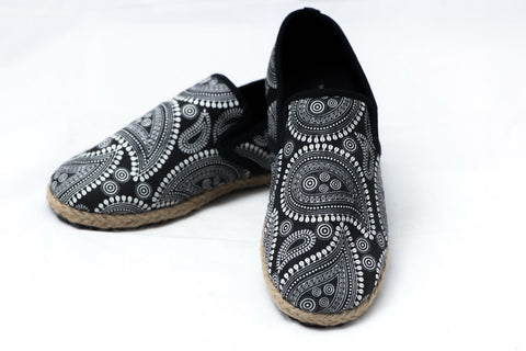 Black Paisley Canvas Slip-ons