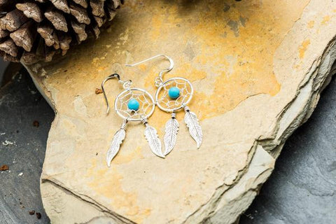 Sterling Silver Thai  Earrings Dream Catcher