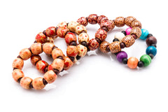 Assorted 6 Piece Set Thai Wooden Mala Beads Bracelets