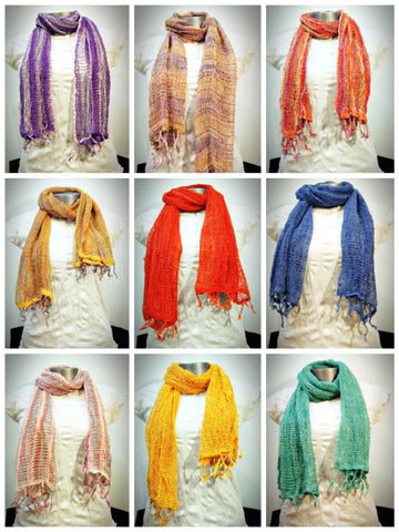 Assorted set of 10 Fair Trade Organic Cotton Scarf Small