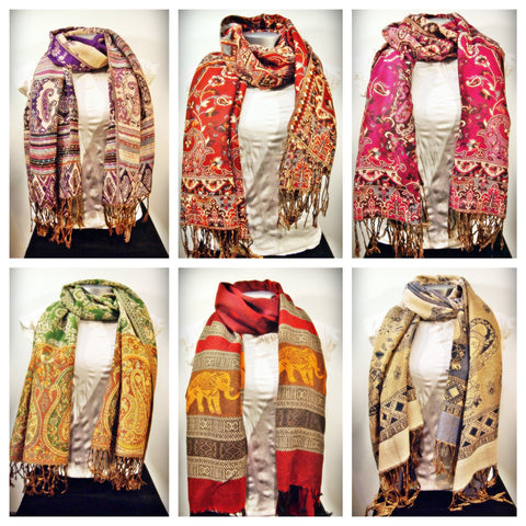 Assorted set of 10 Nepal Hand Made Pashmina Shawl Scarf