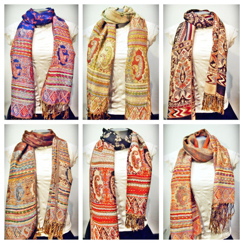 Assorted set of 20 Beautiful Hand Made Pashmina Shawl Scarf