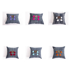 Assorted set of 10 Hill Tribe Indigo Cotton Pillow covers with Beautiful Tassels