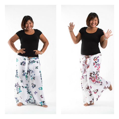 Assorted set of 5 Plus Size Organic Cotton Wide Leg Yoga Pants Butterfly