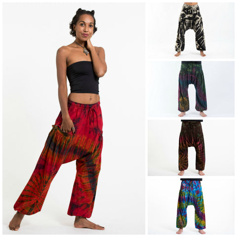 Assorted Set of 5 Tie Dye Thai Cotton Low Cut Harem Pants