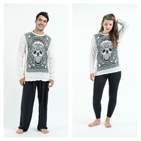 Sure Design Unisex Trippy Skull Long Sleeve Shirt White