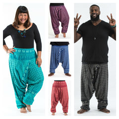 Assorted Set of 5 Plus Size Hill Tribe Elephants Unisex Harem Pants