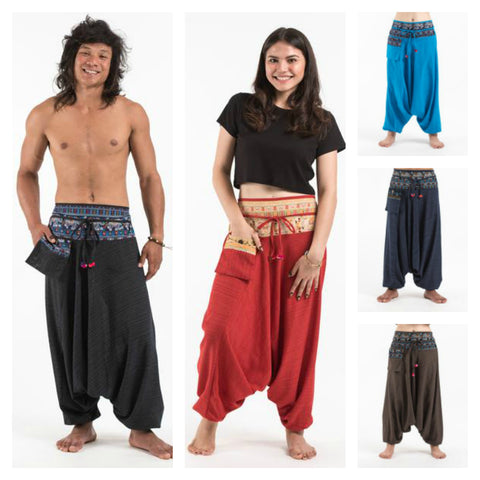 Assorted Set of 5 Unisex Pinstripe Cotton Low Cut Harem Pants with Elephant Trim