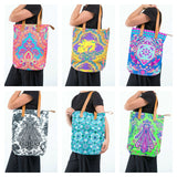 Wholesale Assorted set of 5 Neon Hippie Boho Canvas Tote Bag - $45.00