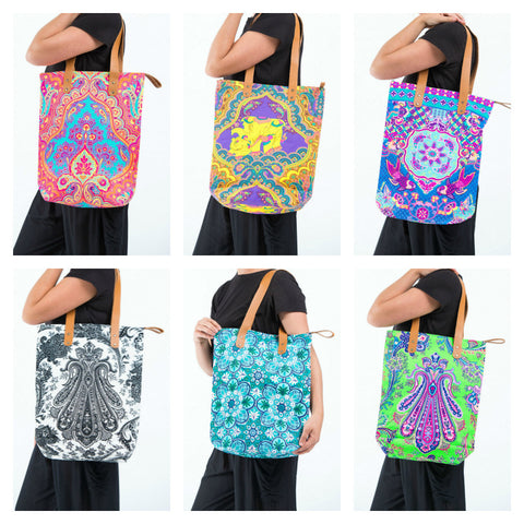 Assorted set of 5 Neon Hippie Boho Canvas Tote Bag