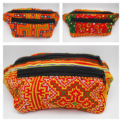 Assorted Set of 3 Waist Bag Embroidery Hmong Ethnic Outdoor Sport Wallet