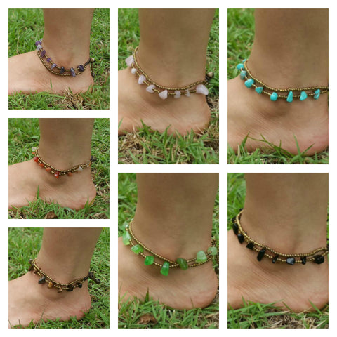Assorted set of 10 Hand Made Fair Trade Anklet Double Strand Brass Beads