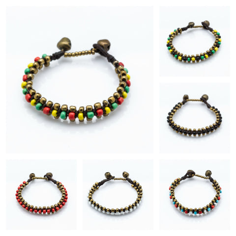 Assorted set of 5 Hand Made Fair Trade Waxed String Bracelet With Brass And Glass Beads
