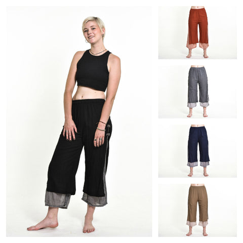 Assorted Set of 5 Women's Cotton Double Layers Cropped Pants in Solid Color