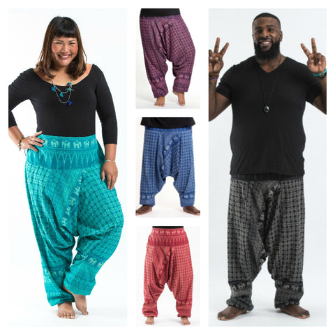 Assorted Set of 10 Plus Size Hill Tribe Elephants Unisex Harem Pants