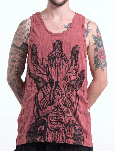 Sure Design Men's See No Evil Buddha Tank Top Brick