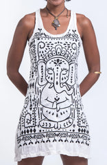 Sure Design Women's Shanti Ganesha Tank Dress White