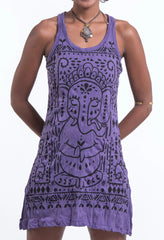 Sure Design Women's Shanti Ganesha Tank Dress Purple