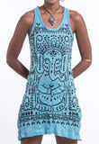 Wholesale Sure Design Women's Shanti Ganesha Tank Dress Turquoise - $9.00