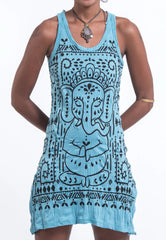 Sure Design Women's Shanti Ganesha Tank Dress Turquoise
