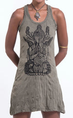 Sure Design Women's See No Evil Buddha Tank Dress Green
