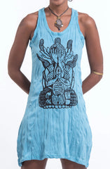 Sure Design Women's See No Evil Buddha Tank Dress Turquoise