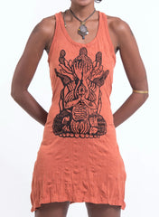 Sure Design Women's See No Evil Buddha Tank Dress Orange