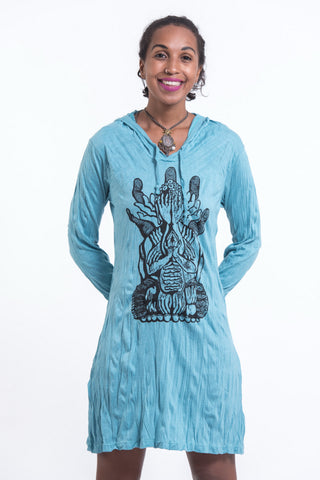 Sure Design Women's See No Evil Buddha Hoodie Dress Turquoise