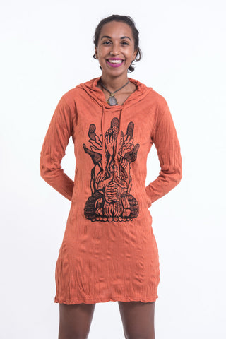 Sure Design Women's See No Evil Buddha Hoodie Dress Orange