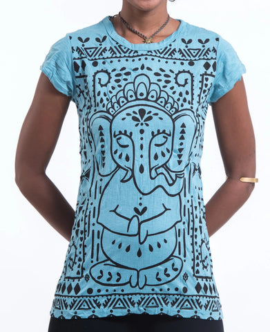 Sure Design Women's Shanti Ganesha T-Shirt Turquoise