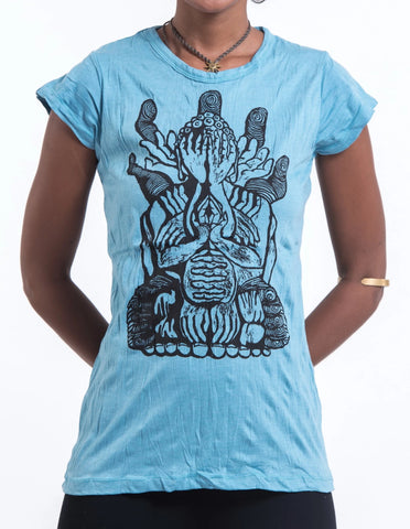 Sure Design Women's See No Evil Buddha T-Shirt Turquoise