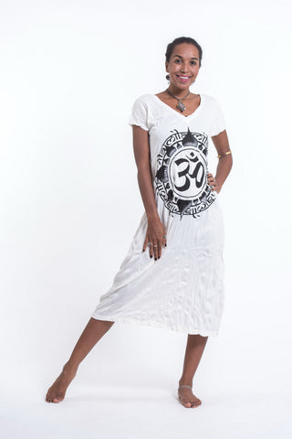Sure Design Womens Infinitee Ohm V Neck Tee Dress White