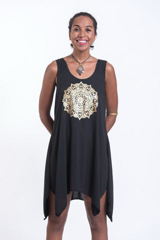Super Soft Cotton Mandala Tank Dress Gold on Black