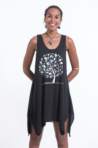 Super Soft Cotton Feather Tree Tank Dress Silver on Black