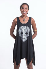 Super Soft Cotton Boho Skull Tank Dress Silver on Black