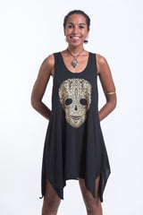Super Soft Cotton Boho Skull Tank Dress Gold on Black