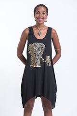 Super Soft Cotton Big Mama Elephant Tank Dress Gold on Black