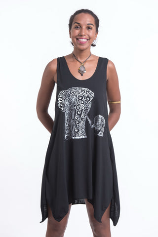 Super Soft Cotton Big Mama Elephant Tank Dress Silver on Black