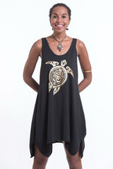 Super Soft Cotton Tribal Turtle Tank Dress Gold on Black