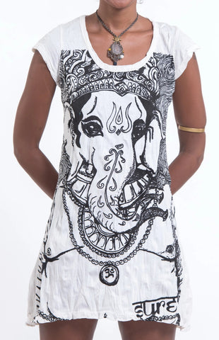 Sure Design Women's Big Face Ganesh Dress White