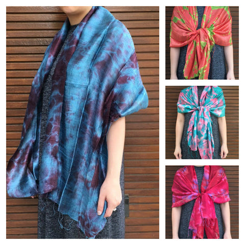 Assorted set of 10 Fair Trade Hand Made Tie dye Silk Scarf