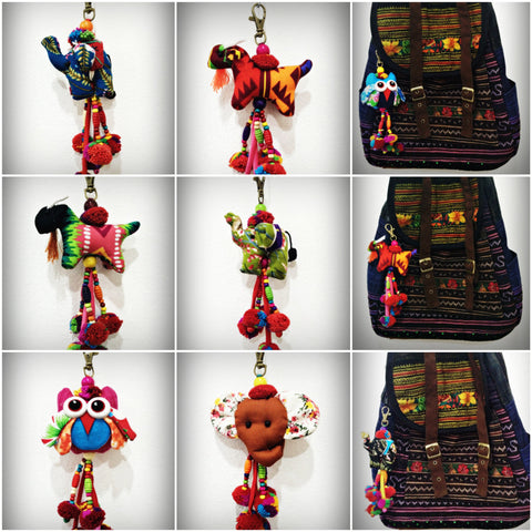 Assorted set of 5 Thai Handmade Hill Tribe Colorful Stuffed Animal Fabric and Beads Keychains