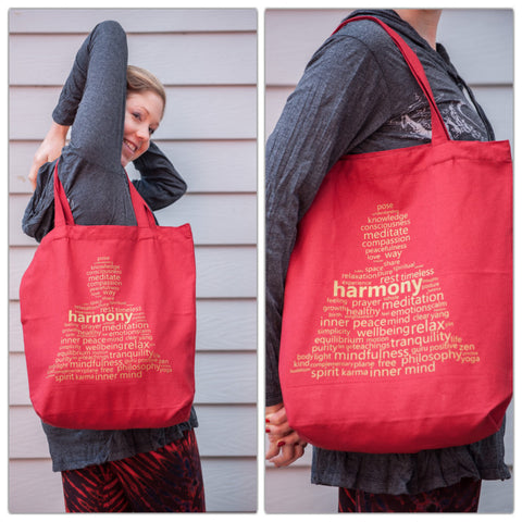 NEW Recycled Cotton Canvas Shopping Tote Bag Harmony Gold on Red