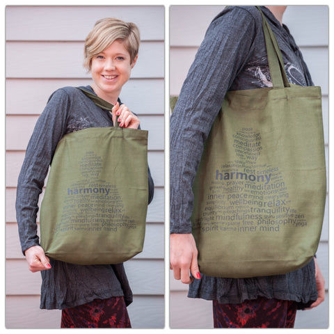 NEW Recycled Cotton Canvas Shopping Tote Bag Harmony Green